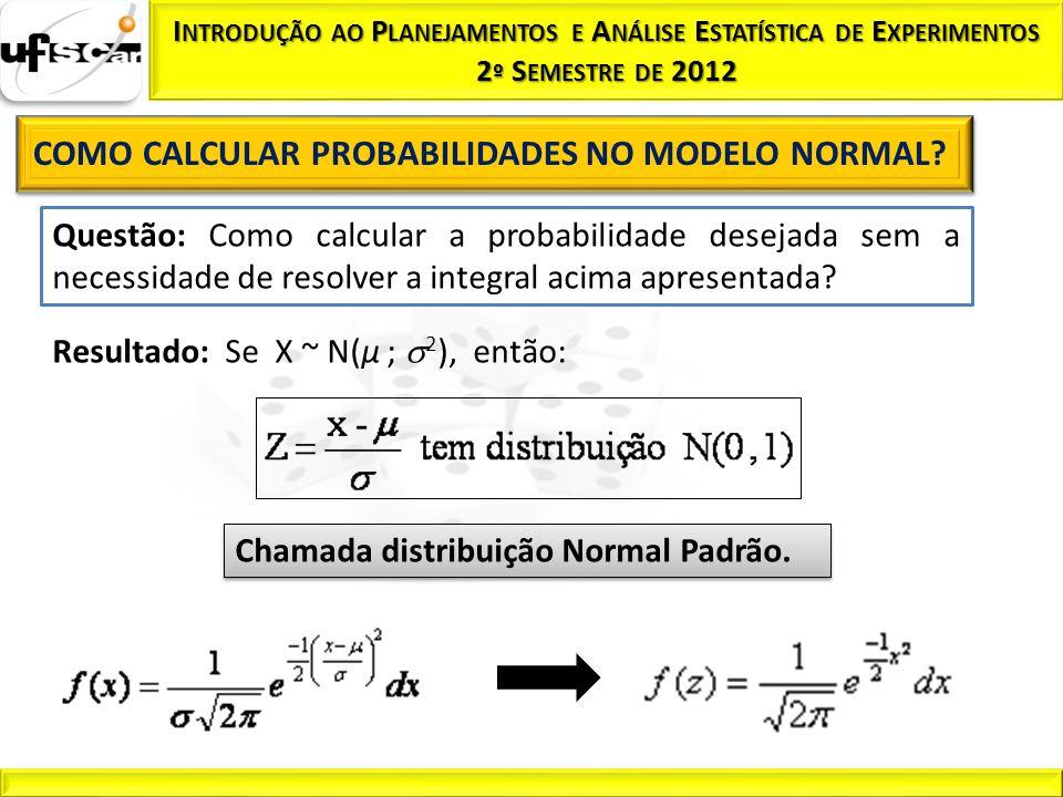 Resultado: Se X ~ N(µ ; 2), então: