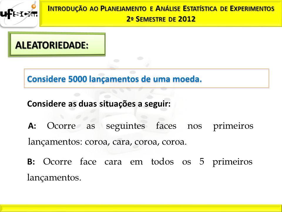 ALEATORIEDADE: Considere 5000 lançamentos de uma moeda.