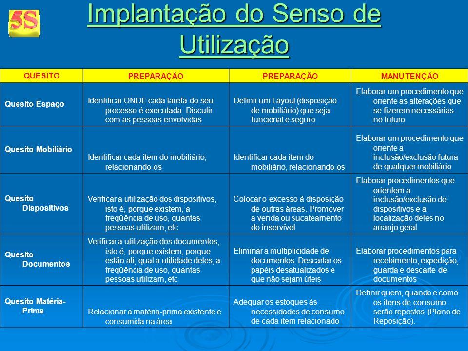 Implantação do Senso de Utilização