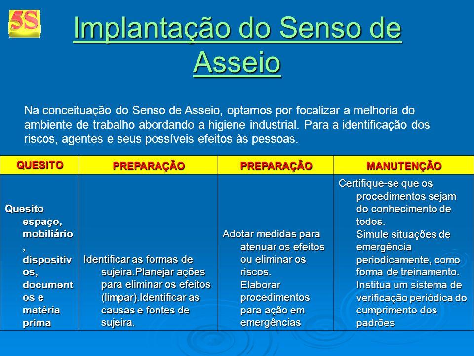 Implantação do Senso de Asseio