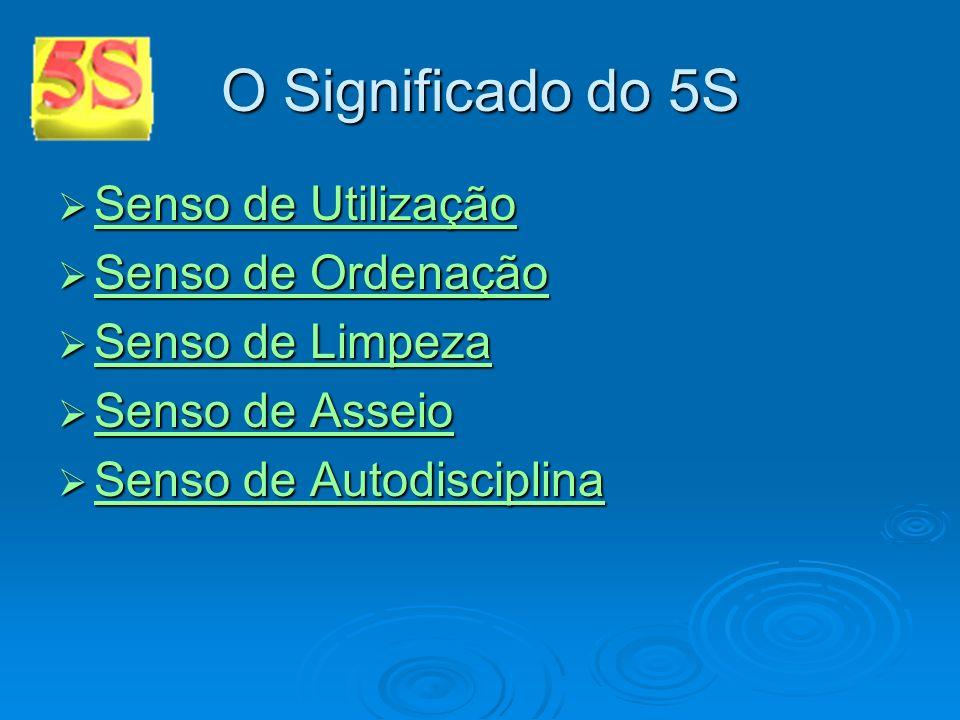 O Significado do 5S Senso de Utilização Senso de Ordenação