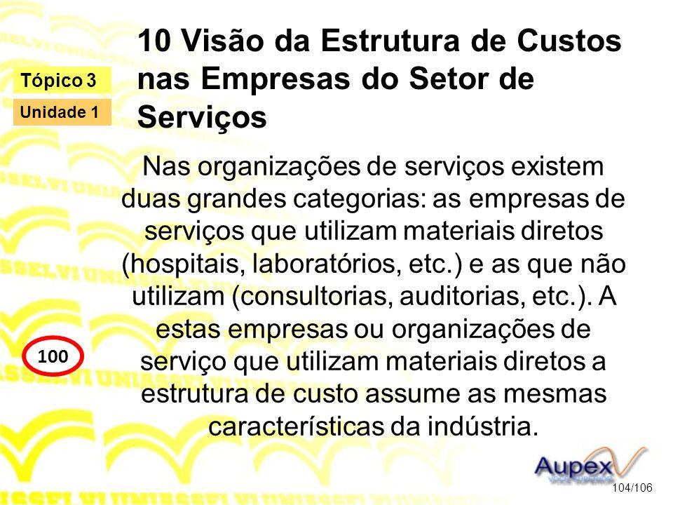 10 Visão da Estrutura de Custos nas Empresas do Setor de Serviços