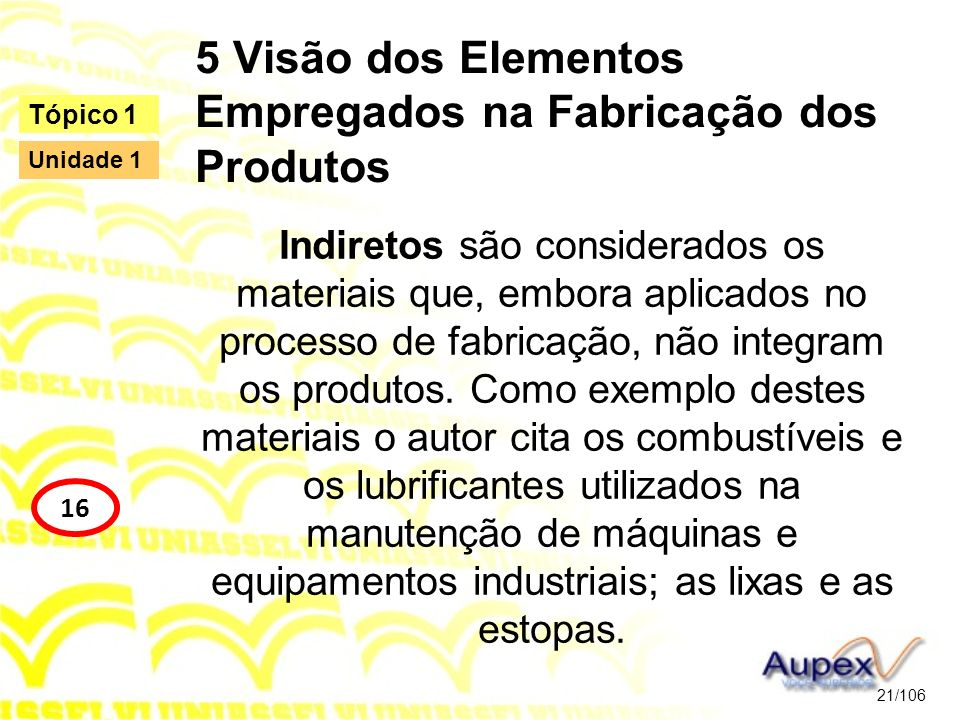 5 Visão dos Elementos Empregados na Fabricação dos Produtos