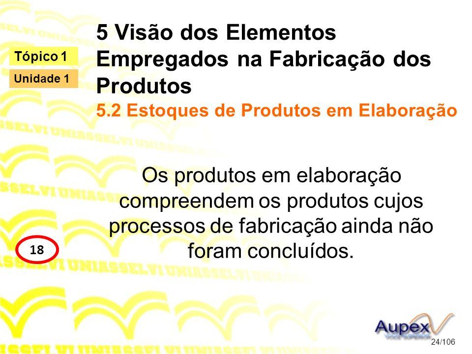 5 Visão dos Elementos Empregados na Fabricação dos Produtos 5