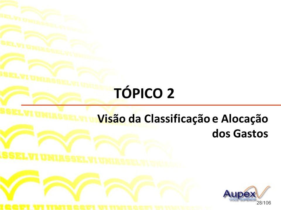 TÓPICO 2 Visão da Classificação e Alocação dos Gastos 28/106