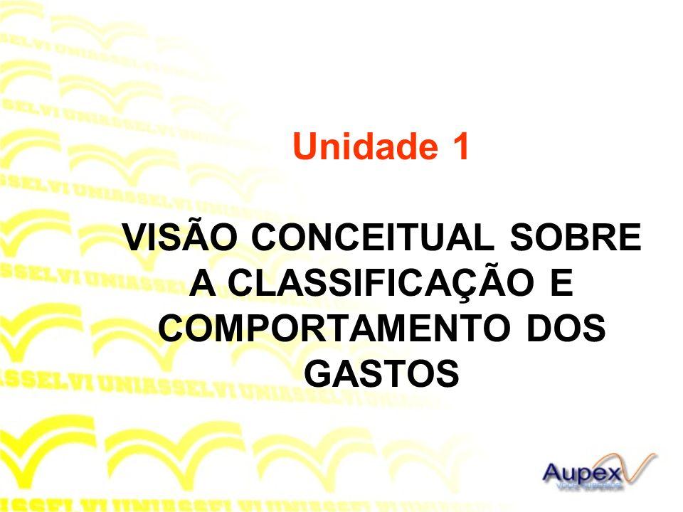 Unidade 1 VISÃO CONCEITUAL SOBRE A CLASSIFICAÇÃO E COMPORTAMENTO DOS GASTOS