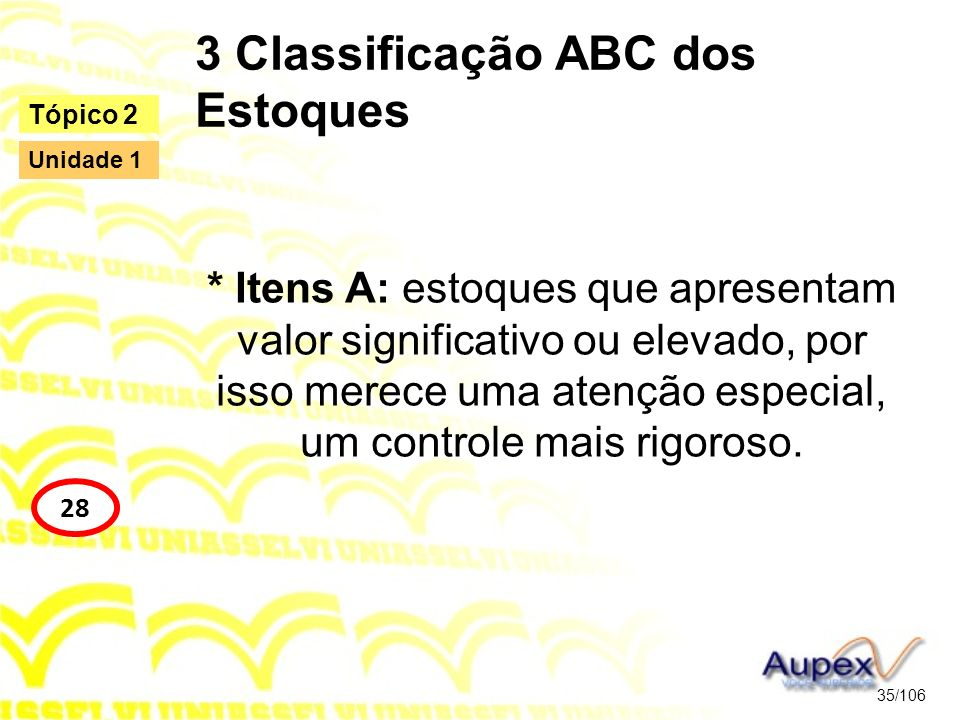 3 Classificação ABC dos Estoques