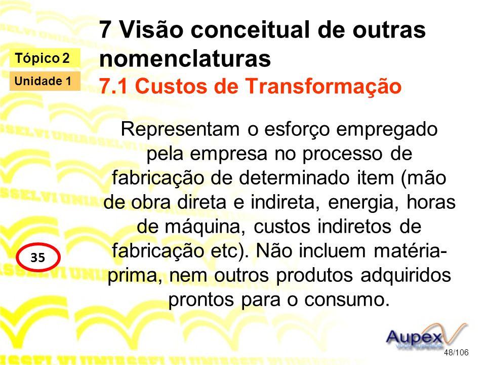 7 Visão conceitual de outras nomenclaturas 7.1 Custos de Transformação