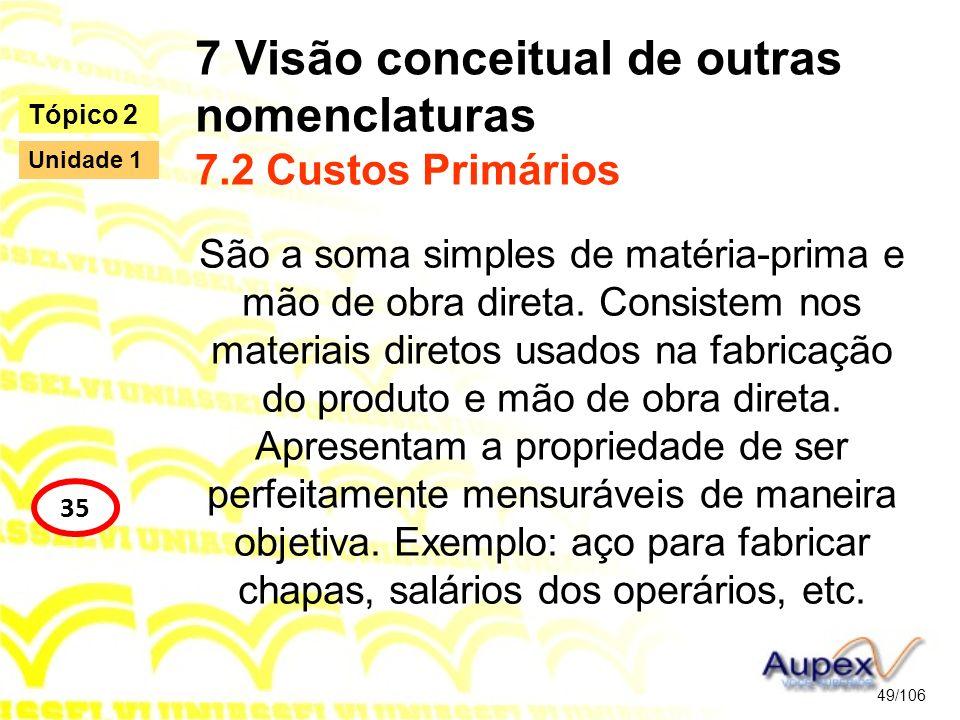 7 Visão conceitual de outras nomenclaturas 7.2 Custos Primários