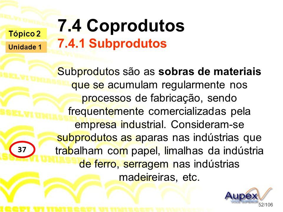 7.4 Coprodutos 7.4.1 Subprodutos