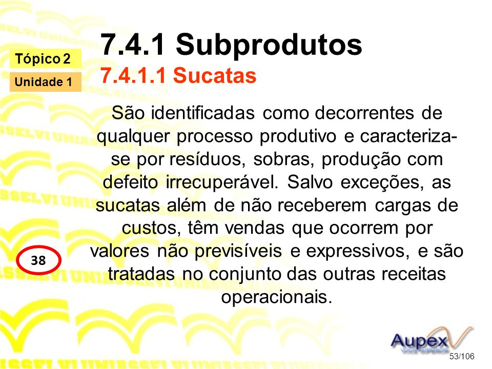 7.4.1 Subprodutos 7.4.1.1 Sucatas Tópico 2. Unidade 1.