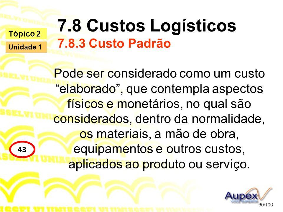7.8 Custos Logísticos 7.8.3 Custo Padrão