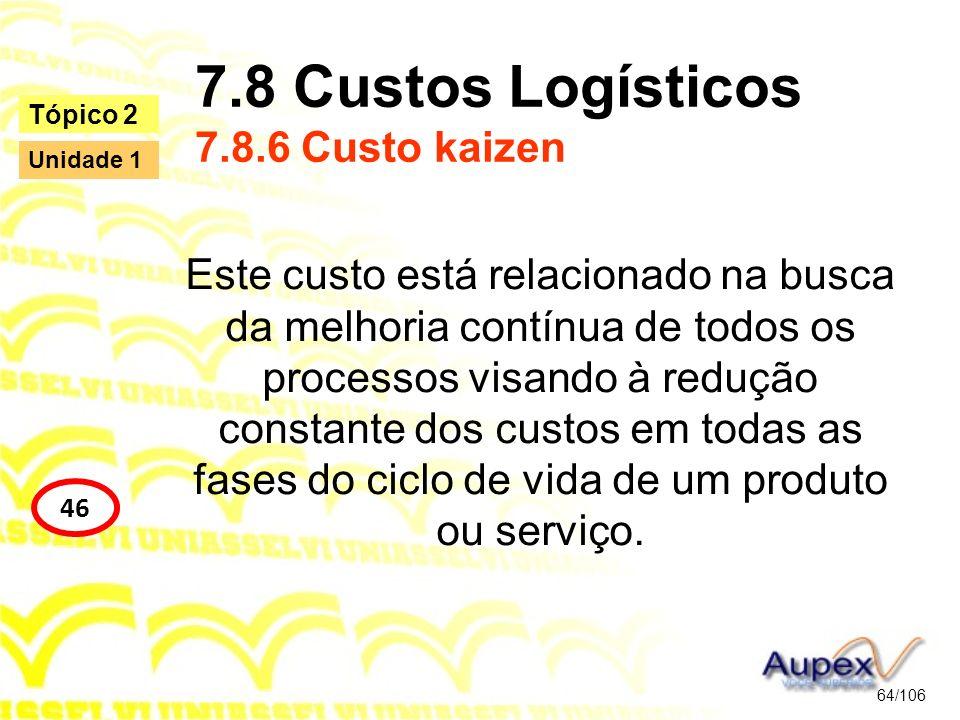 7.8 Custos Logísticos 7.8.6 Custo kaizen