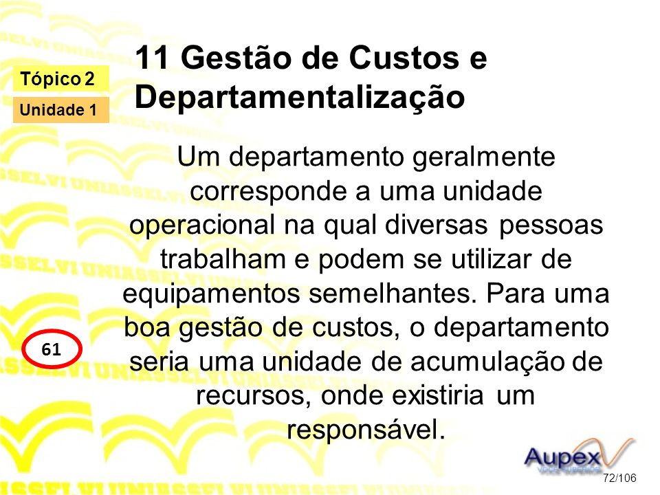 11 Gestão de Custos e Departamentalização