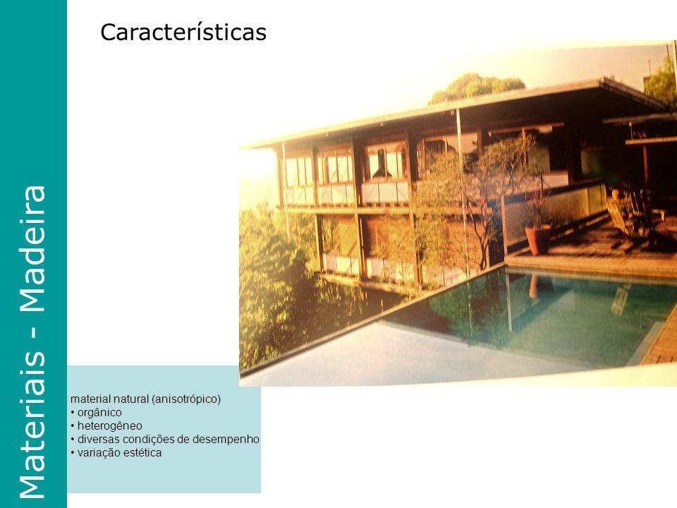Materiais - Madeira Características material natural (anisotrópico)