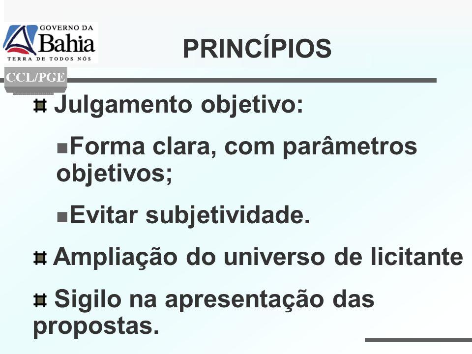 PRINCÍPIOS Julgamento objetivo: Forma clara, com parâmetros objetivos;