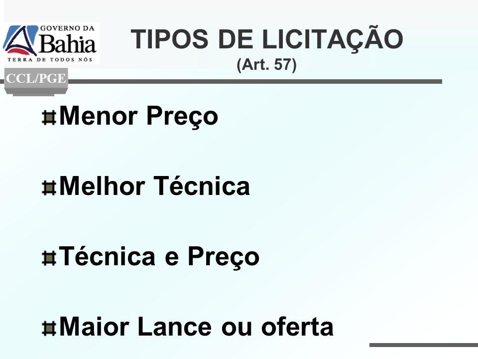 TIPOS DE LICITAÇÃO (Art. 57)