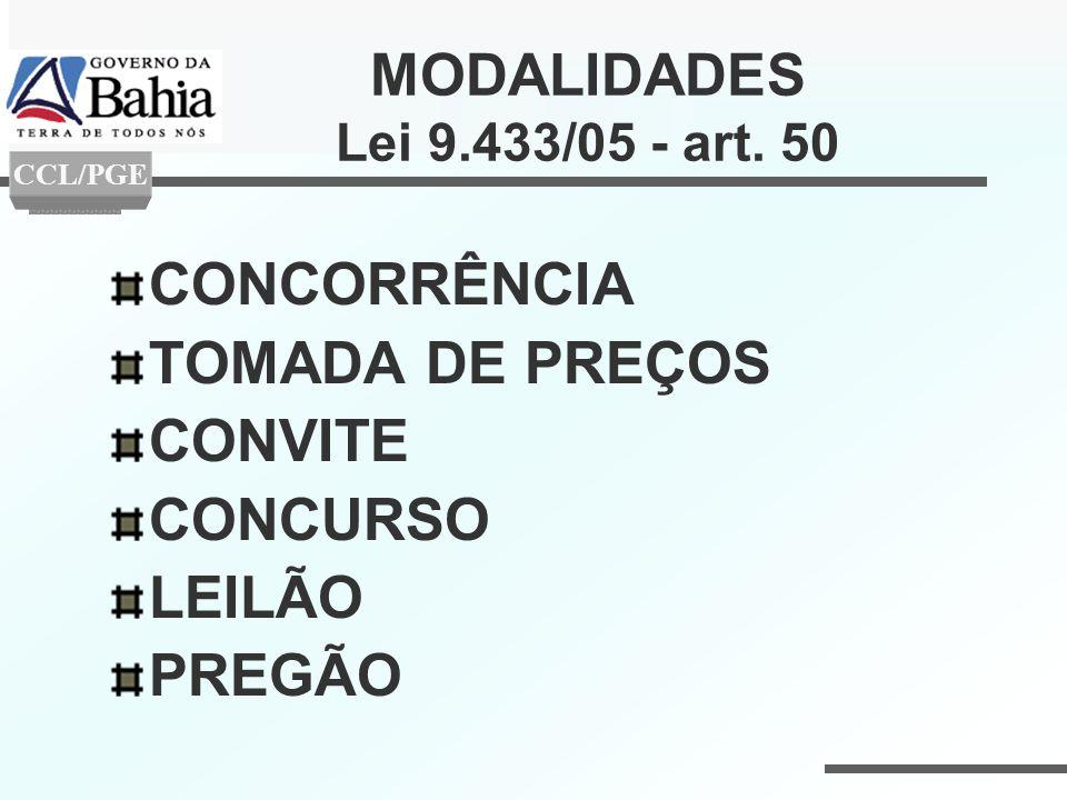 MODALIDADES Lei 9.433/05 - art. 50 CONCORRÊNCIA TOMADA DE PREÇOS