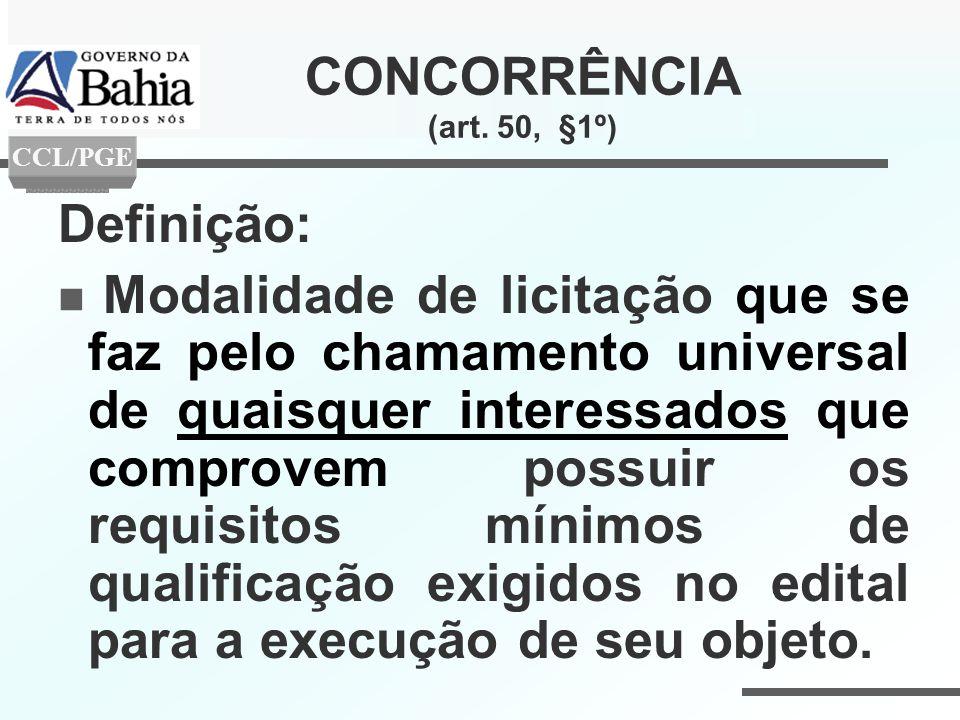 CONCORRÊNCIA (art. 50, §1º) Definição: