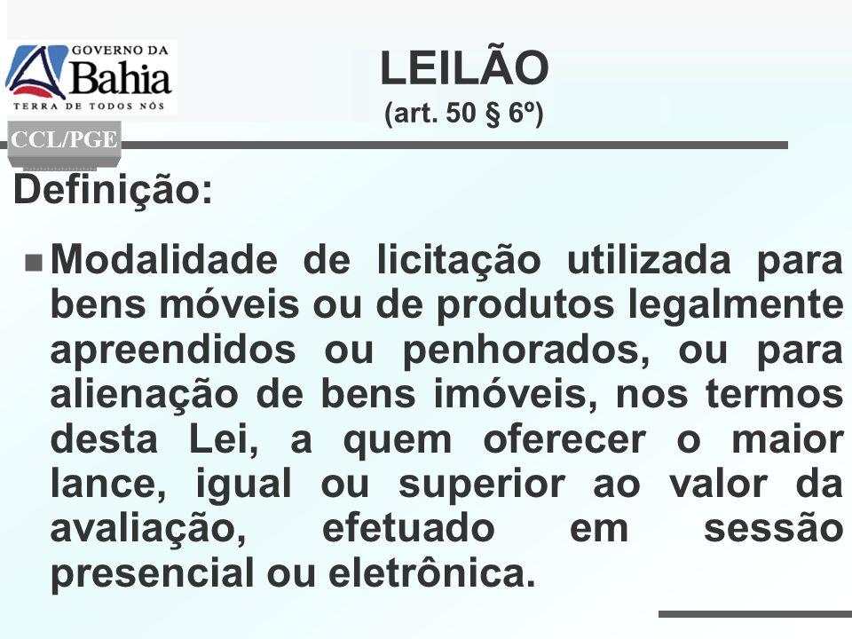 LEILÃO (art. 50 § 6º) Definição: