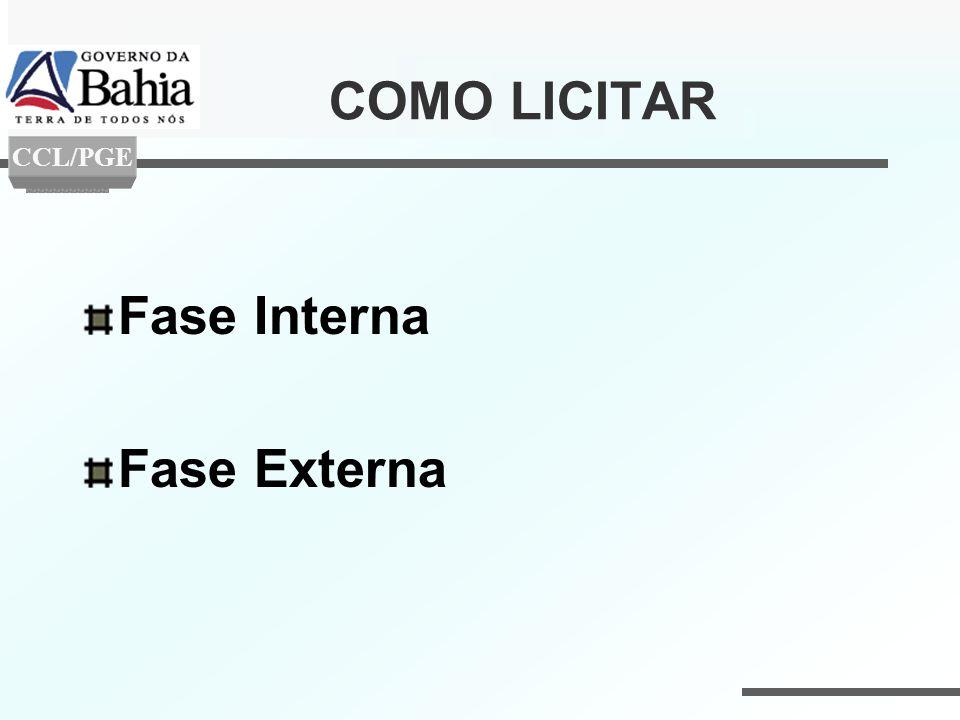 COMO LICITAR CCL/PGE Fase Interna Fase Externa