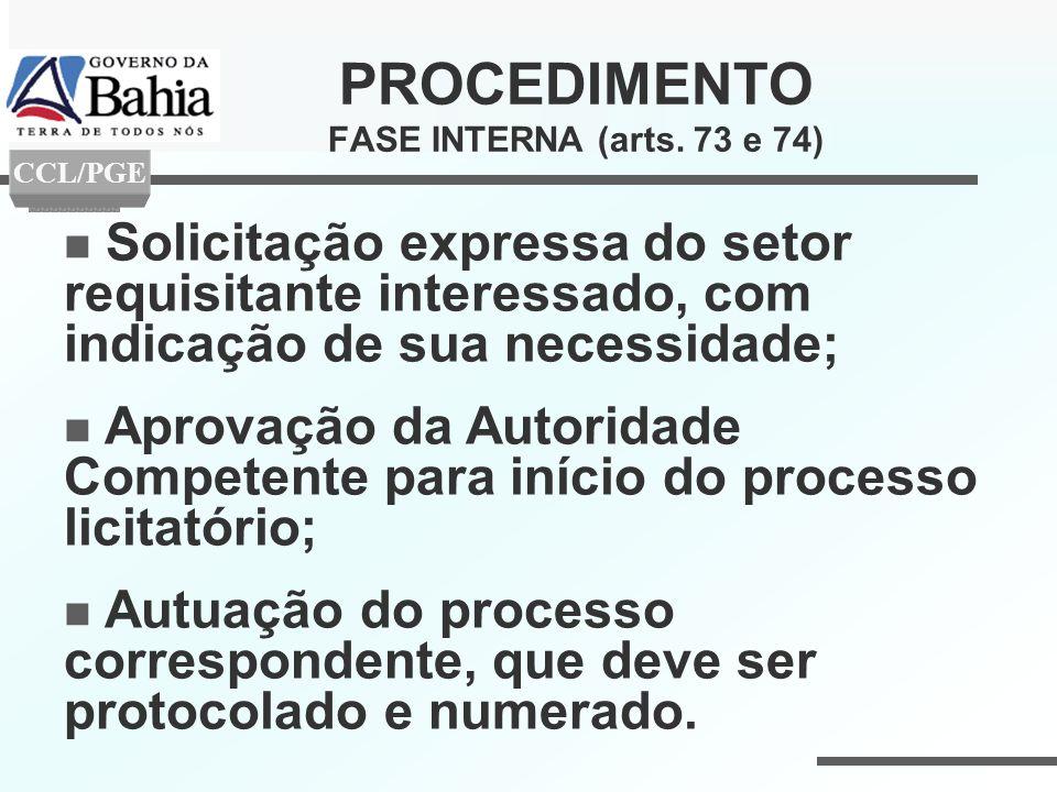 PROCEDIMENTO FASE INTERNA (arts. 73 e 74)