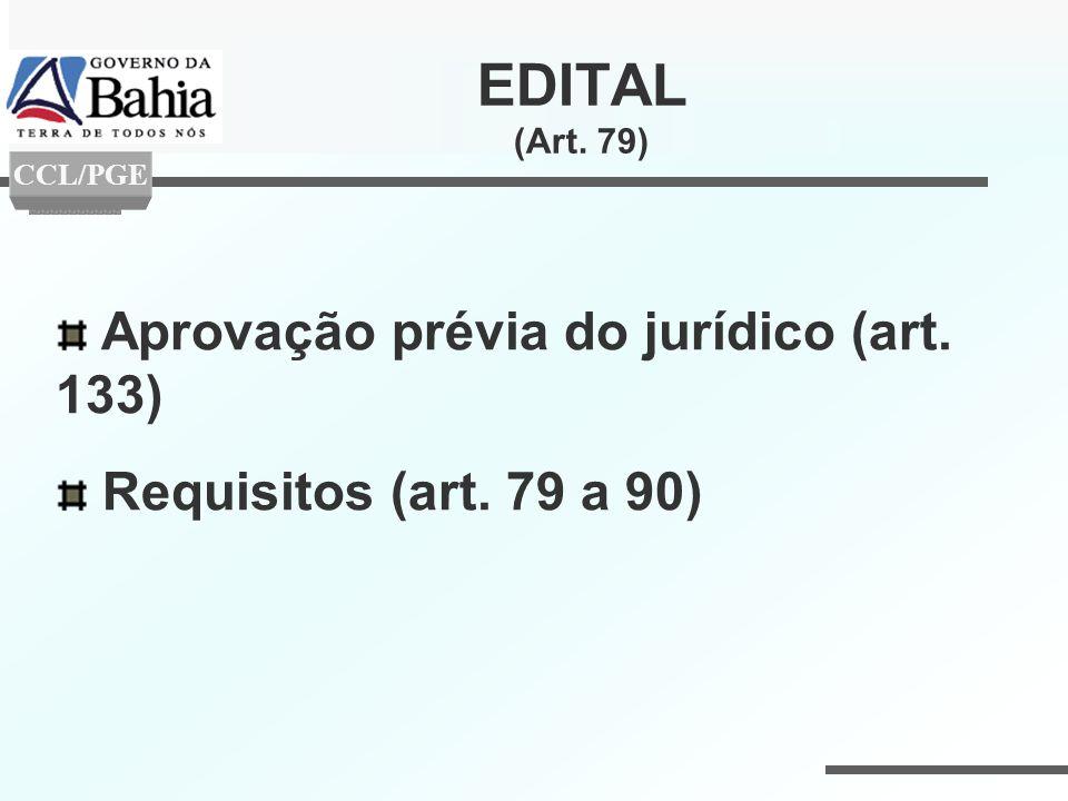 EDITAL (Art. 79) Aprovação prévia do jurídico (art. 133)