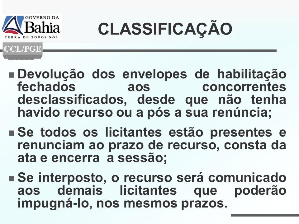CLASSIFICAÇÃO CCL/PGE.