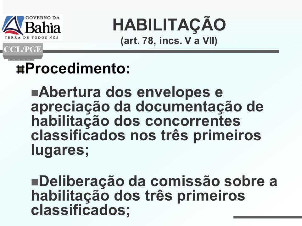 HABILITAÇÃO (art. 78, incs. V a VII)