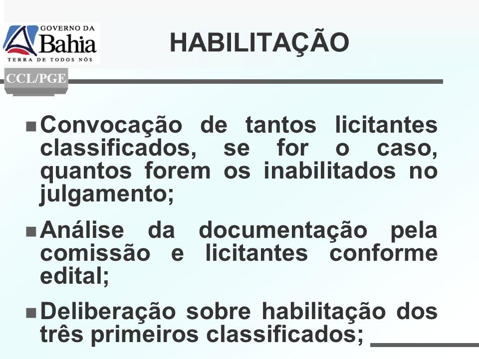 HABILITAÇÃO CCL/PGE. Convocação de tantos licitantes classificados, se for o caso, quantos forem os inabilitados no julgamento;