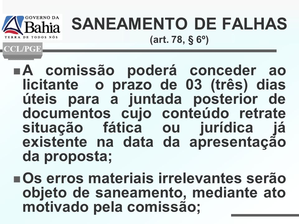SANEAMENTO DE FALHAS (art. 78, § 6º)