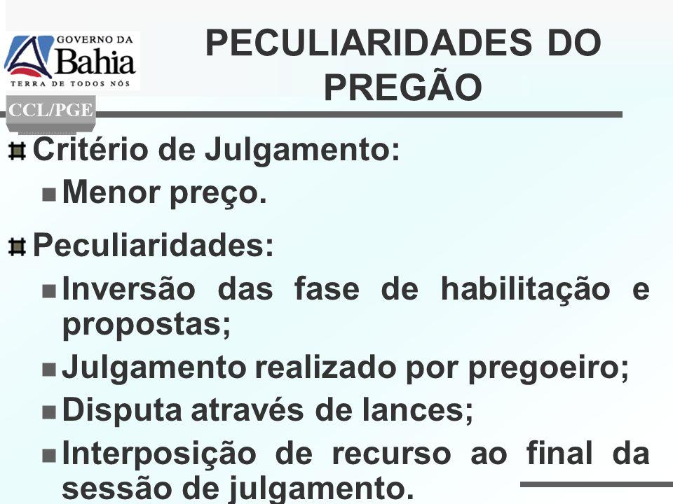 PECULIARIDADES DO PREGÃO