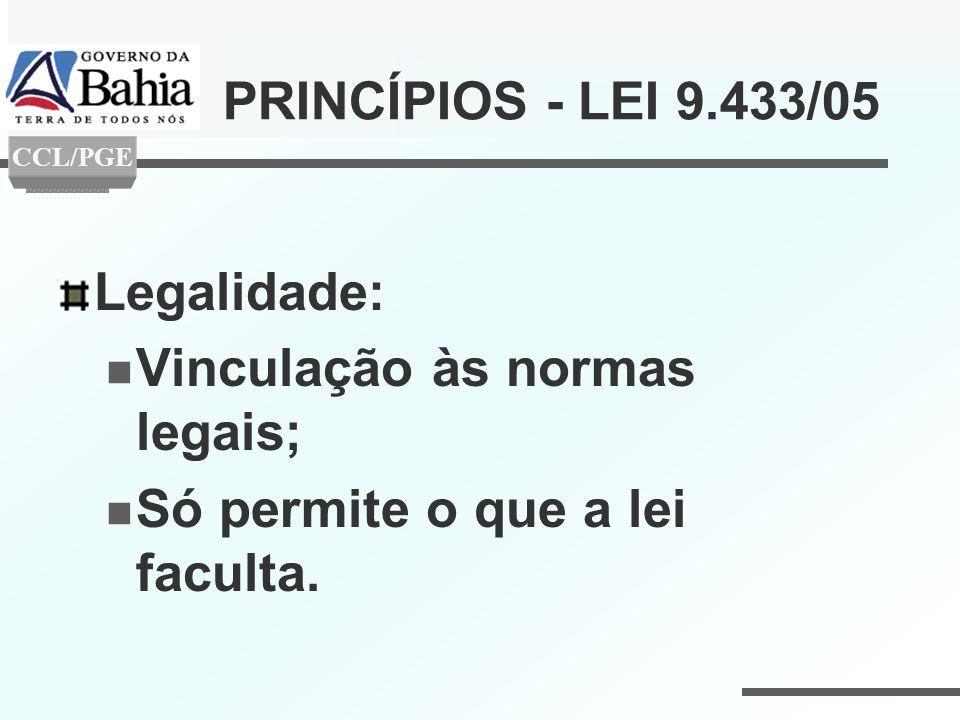 Vinculação às normas legais; Só permite o que a lei faculta.