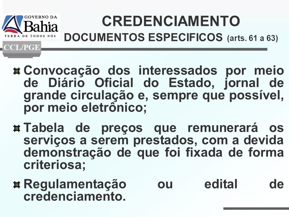 CREDENCIAMENTO DOCUMENTOS ESPECIFICOS (arts. 61 a 63)