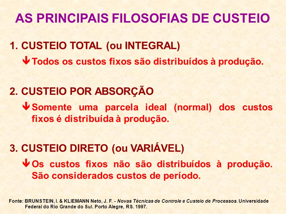 AS PRINCIPAIS FILOSOFIAS DE CUSTEIO