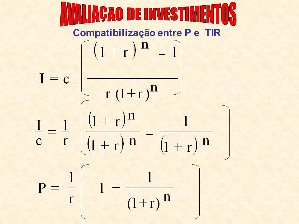 Compatibilização entre P e TIR