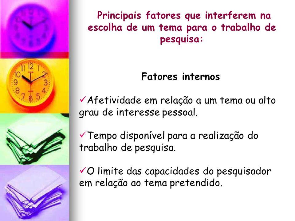 Principais fatores que interferem na escolha de um tema para o trabalho de pesquisa: