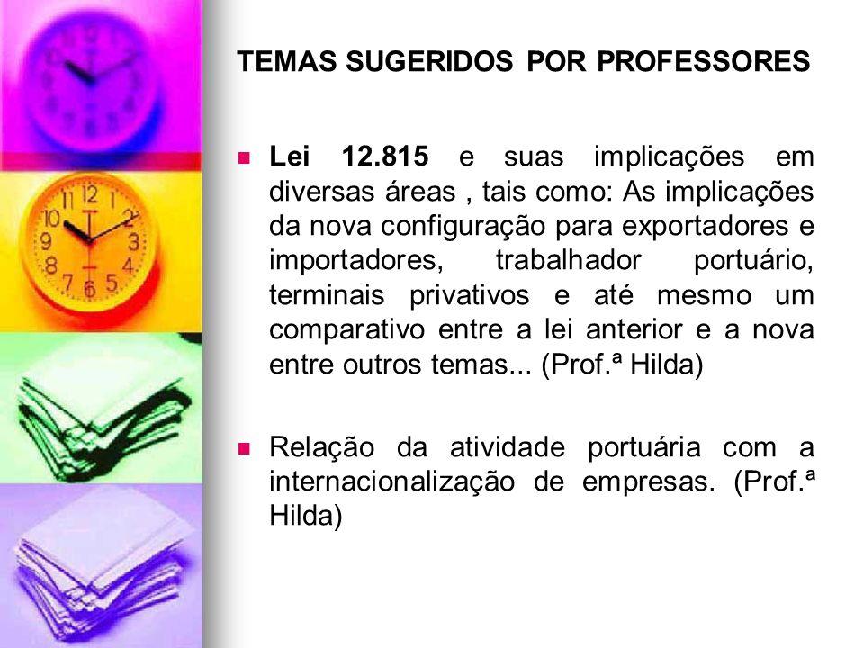 TEMAS SUGERIDOS POR PROFESSORES