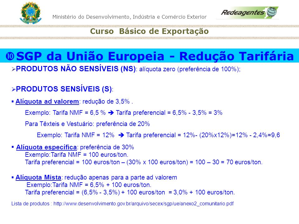 SGP da União Europeia - Redução Tarifária