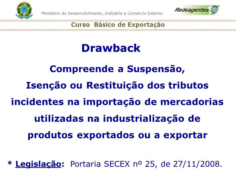 Drawback Compreende a Suspensão, Isenção ou Restituição dos tributos
