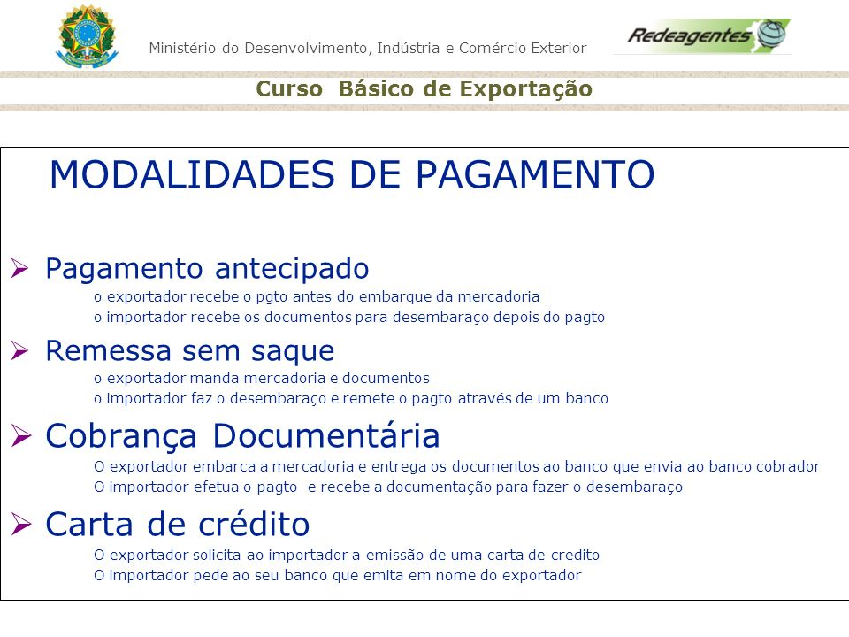 MODALIDADES DE PAGAMENTO