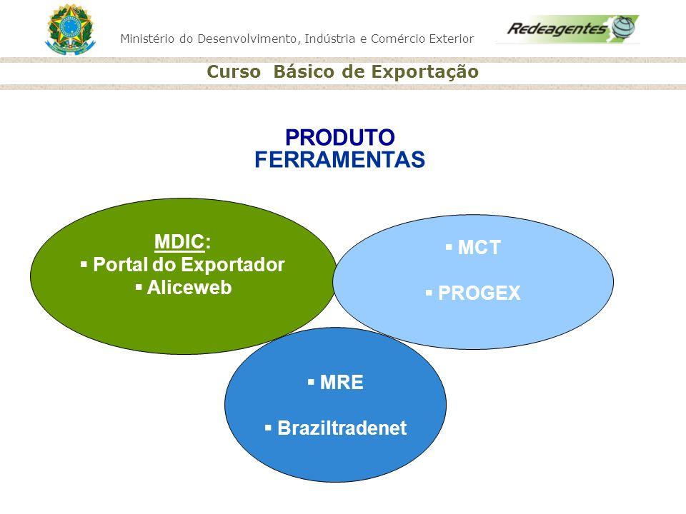 PRODUTO FERRAMENTAS MDIC: Portal do Exportador MCT Aliceweb PROGEX MRE