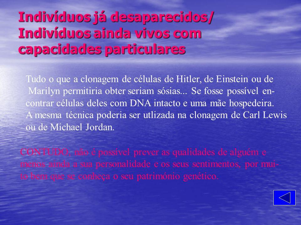 Indivíduos já desaparecidos/ Indivíduos ainda vivos com capacidades particulares