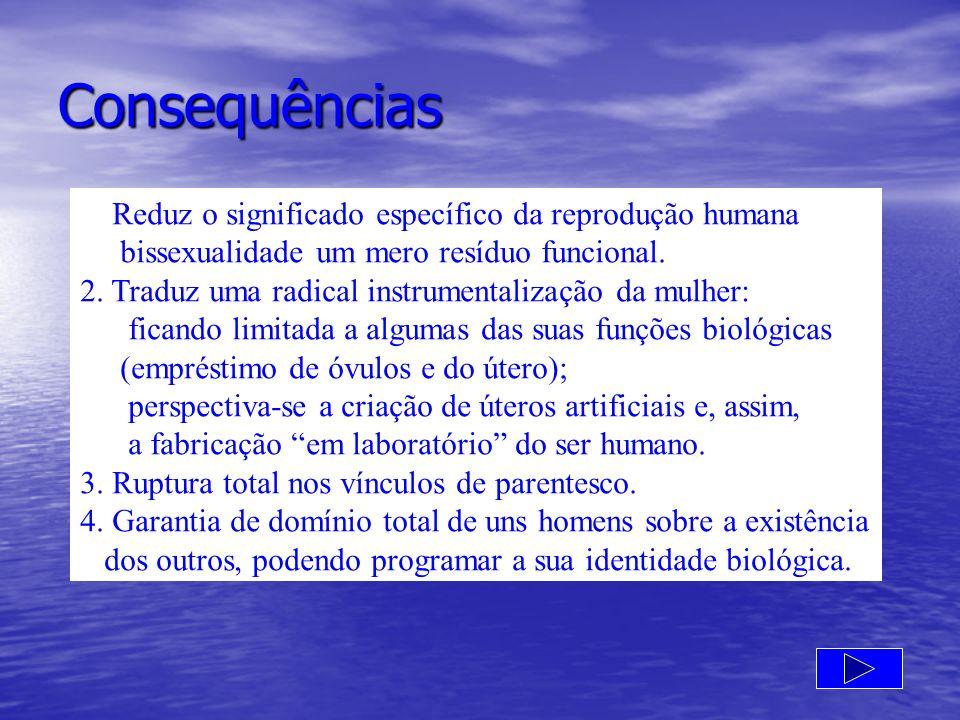 Consequências 1.Reduz o significado específico da reprodução humana