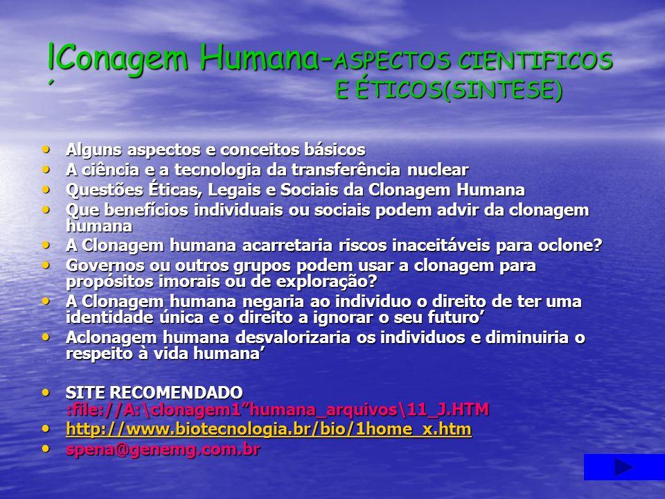 lConagem Humana-ASPECTOS CIENTIFICOS ´ E ÉTICOS(SINTESE)