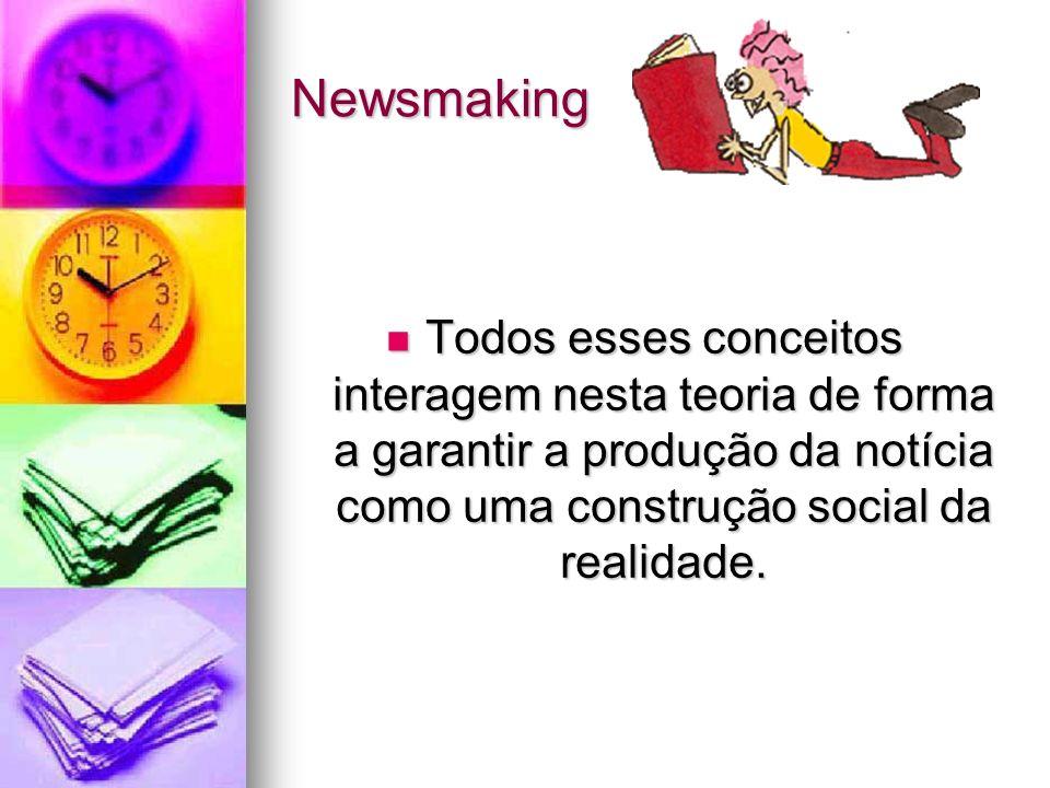 Newsmaking Todos esses conceitos interagem nesta teoria de forma a garantir a produção da notícia como uma construção social da realidade.