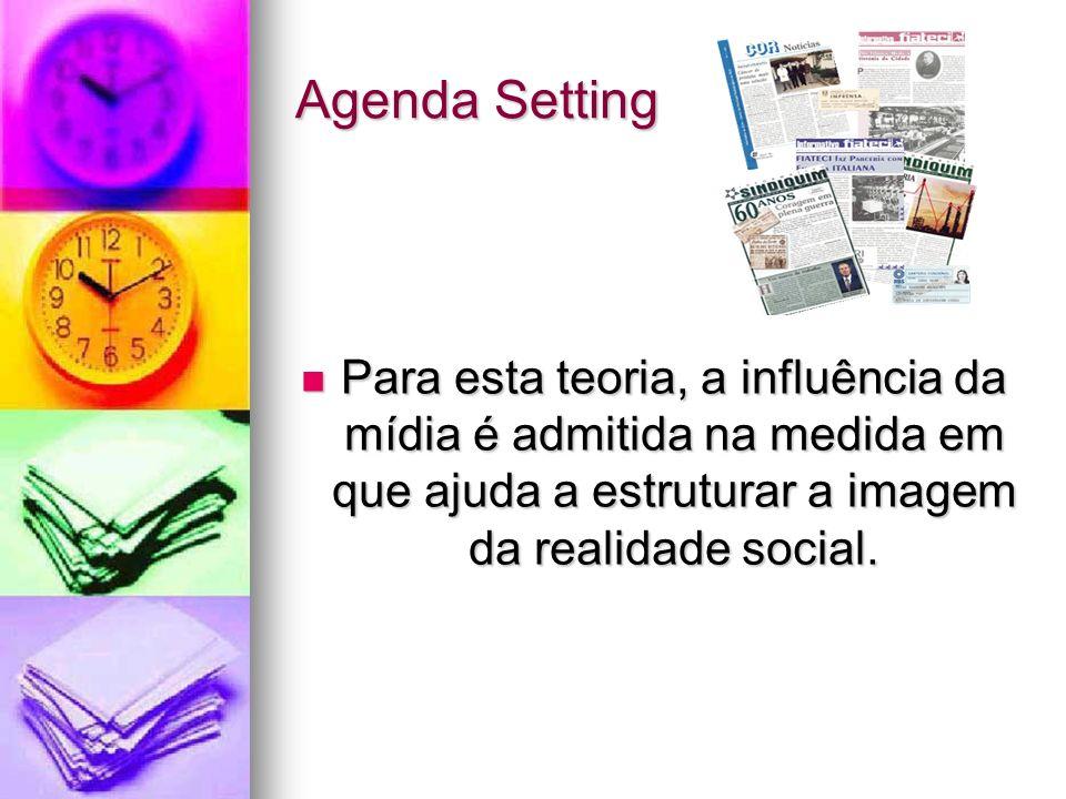 Agenda Setting Para esta teoria, a influência da mídia é admitida na medida em que ajuda a estruturar a imagem da realidade social.