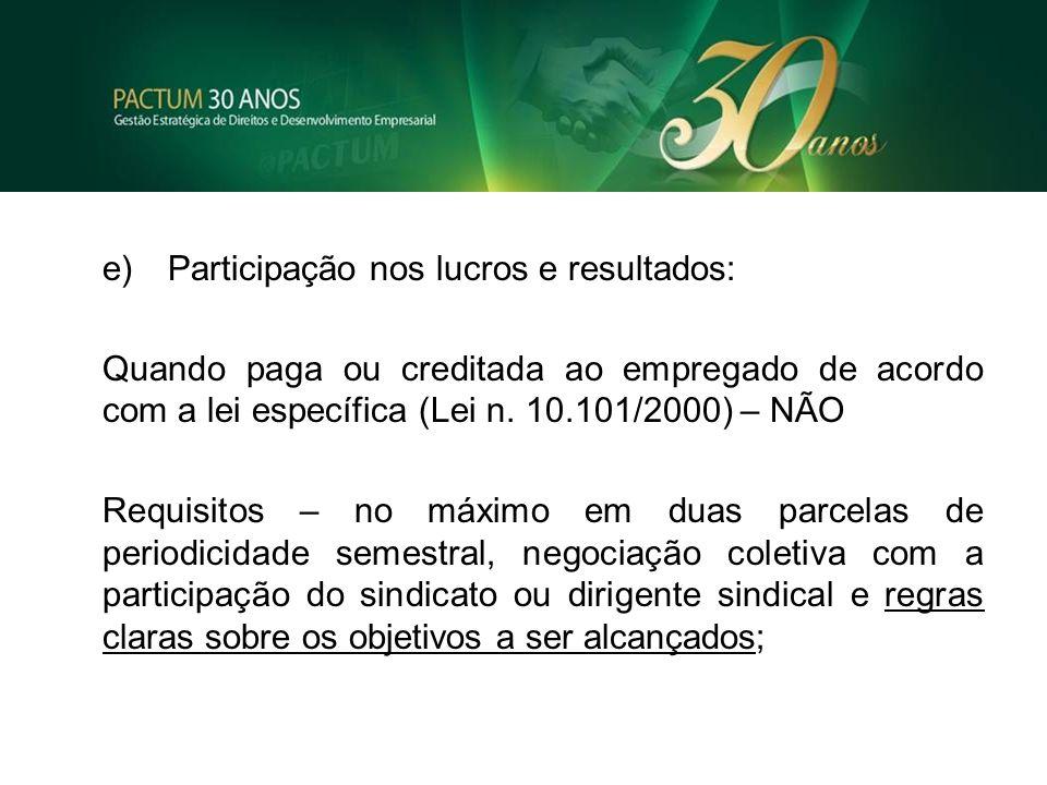e) Participação nos lucros e resultados: