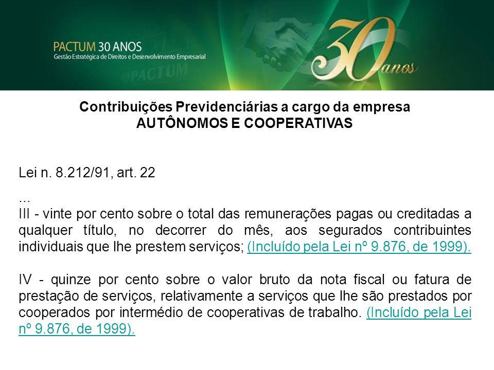 Contribuições Previdenciárias a cargo da empresa