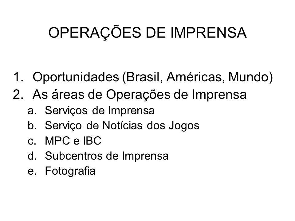 OPERAÇÕES DE IMPRENSA Oportunidades (Brasil, Américas, Mundo)